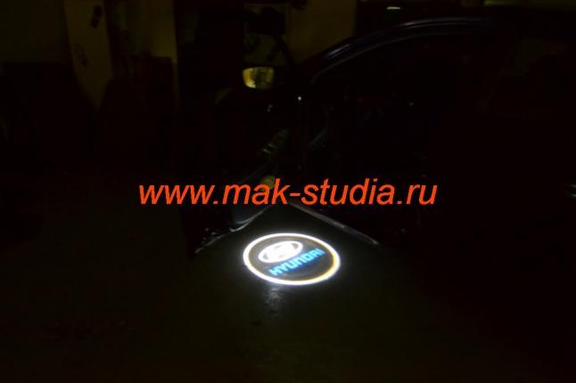 Лазерная проекция логотипа авто Hyundai