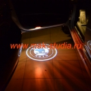 Лазерная проекция логотипа Шкода Суперб