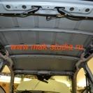 Шумоизоляция автомобиля - потолок клеим тоже со 100% перекрытием всей площади