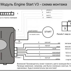 Схема монтажа модуля Engine Start V3